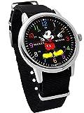 ディズニー ミッキーマウス ウォッチ ベルト ブラック 付け替え可能 ディズニー 腕時計 メンズ レディース キッズ WATCH Disney ミッキー 手が回る 時計 NATO ナトー ディズニー