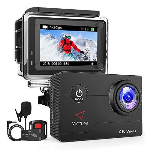 Dragon Touch アクションカメラ 4K 170度広角レンズ 1600万像素 高画質 手ぶれ補正 WiFi搭載 外部マイク対応 スポーツカメラ 30m防水 HDMI出力 リモコン付き ウェアラブルカメラ バイク/自転車/車に取り付け可能 Vision 4