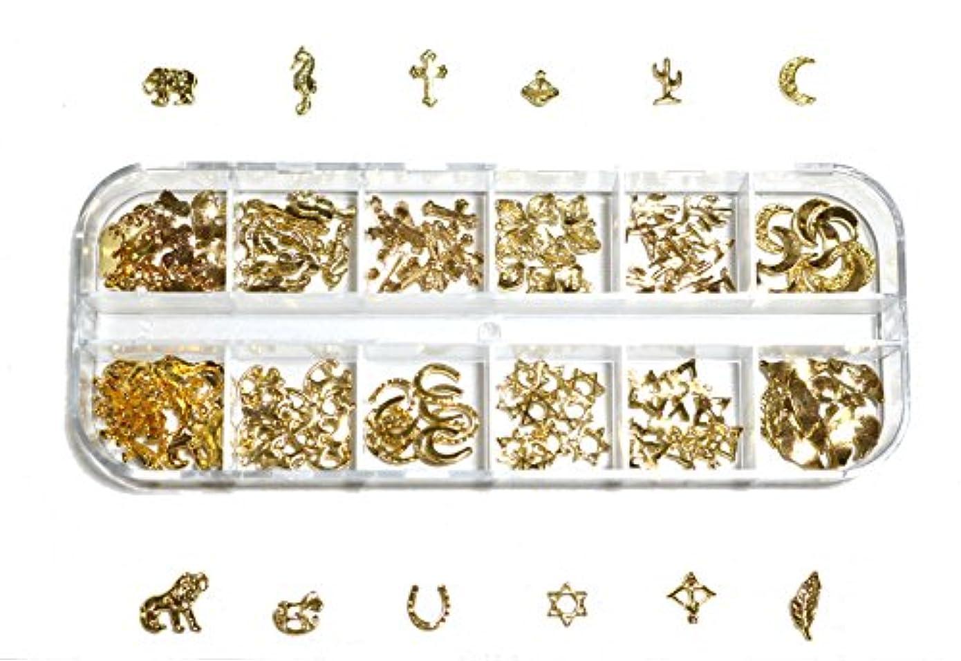 呼ぶピアパンツ【jewel】 ゴールドorシルバー メタルパーツ 12種類 各10個入り カラー選択可能☆ (ゴールド)