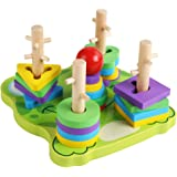 TOYANDONA Wooden Sorting Stacking Toys Geometry Shape Sorter Matching Game for Toddlers Kids Random Color
