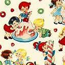 子供とお菓子の柄の白いデザイナー生地 Michael Miller fabric Candy Shop