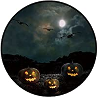 印刷ラウンドラグハロウィン、魔女、Woman on Broomstick Bats猫星レインボームーン城抽象カラフルな装飾のドア床マットノンスリップソフト玄関マットラグエリアラグ椅子リビングルーム、Mult Round 32IN/80cm TJDD_129663_Round 32IN/80cm