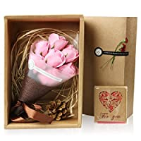 Rocita ソープフラワー ギフト花束 枯れないお花 ギフトボックス付き カード付き フレグランス 美しい お見舞い 誕生日 記念日 結婚 母の日 様々なお祝いのシーンに最適 7pcs 2色選べる (Pink)