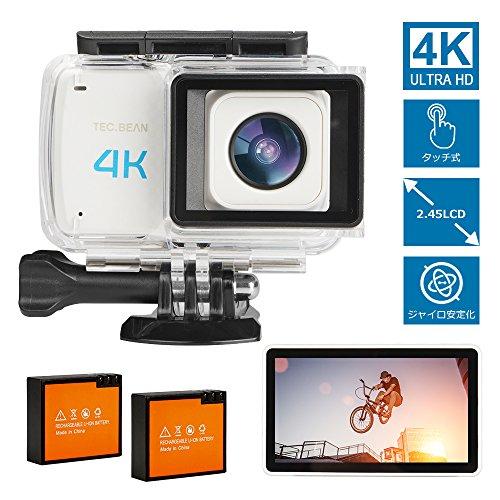 4K WIFI アクションカメラ タッチスクリーン 2.45インチ 16MP 170度超広角レンズ 30M防水 手振れ補正 HDMI出力可能 ウェアラブルカメラ 二つバッテリー ドライブレコーダー バイク/自転車/車に取り付け可能 日本語説明書 二年保証 TEC.BEAN (ホワイト)