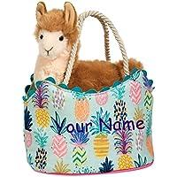 (Personalized Llama Sassy Sak) - Personalised Douglas Colourful Pineapple Llama Sassy Kidz Fashion Pet Sak Stuffed Animal Toy with Bag