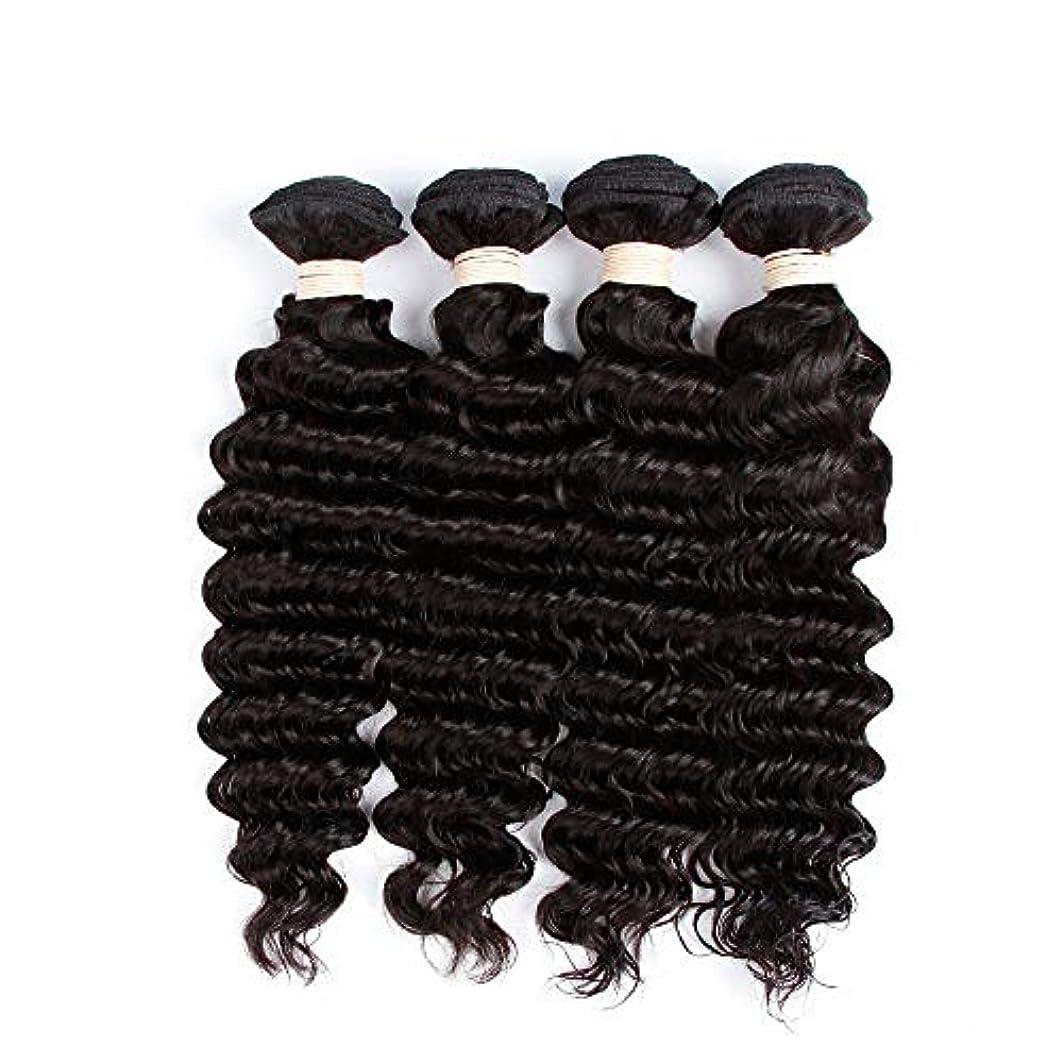 無傷春描写HOHYLLYA 未処理のブラジルの深い巻き毛の束本物の人間のバージンヘアエクステンション - 1束#1Bナチュラルカラー(100 +/- 5g)/ pc女性複合かつらレースかつらロールプレイングかつら (色 : 黒,...