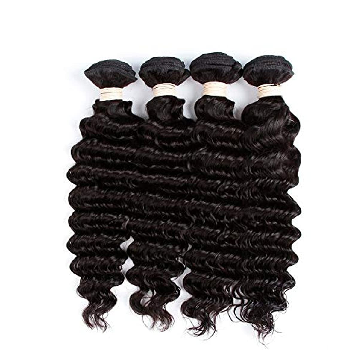 モーテル暴露進化するHOHYLLYA 未処理のブラジルの深い巻き毛の束本物の人間のバージンヘアエクステンション - 1束#1Bナチュラルカラー(100 +/- 5g)/ pc女性複合かつらレースかつらロールプレイングかつら (色 : 黒,...