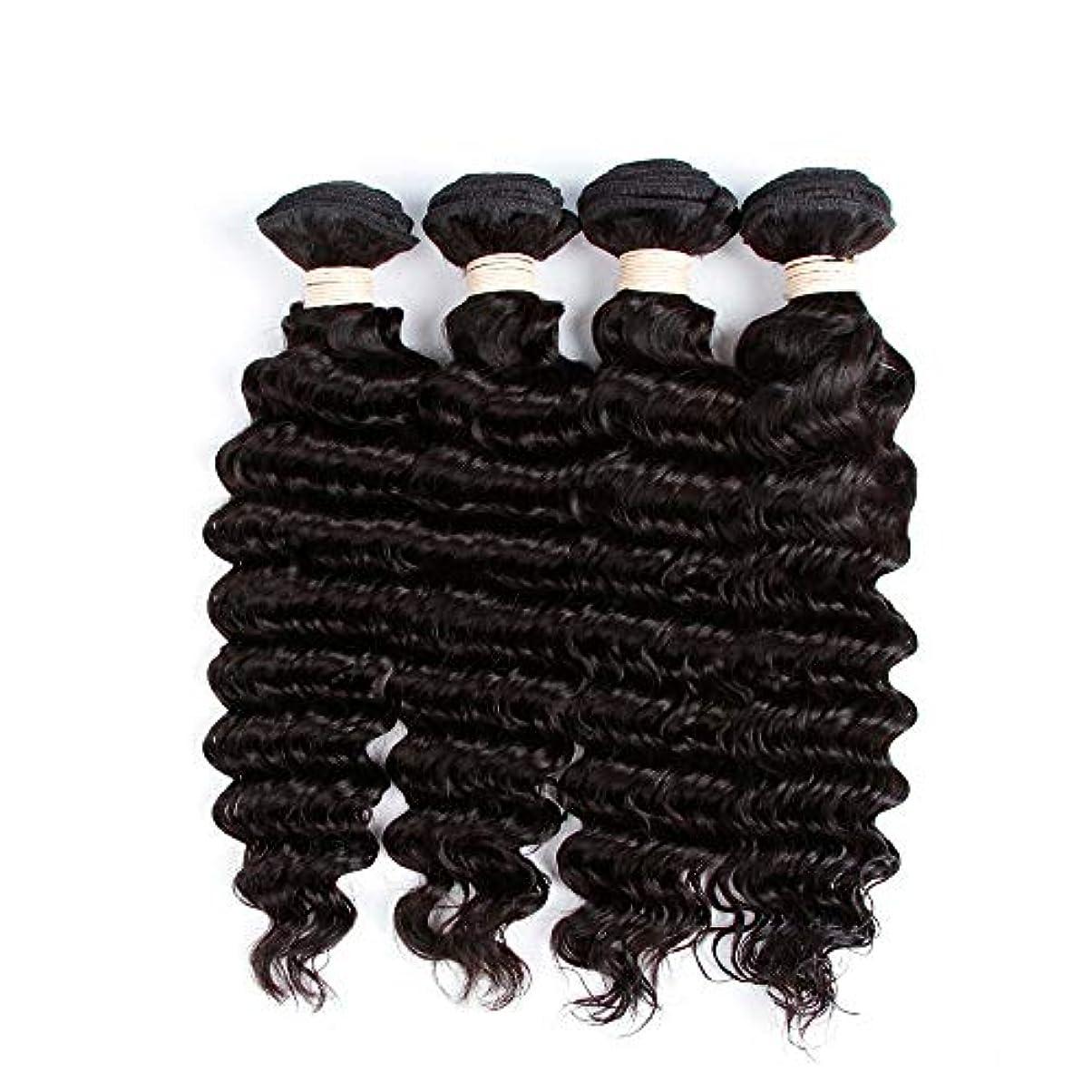 聴衆パット湿地HOHYLLYA 未処理のブラジルの深い巻き毛の束本物の人間のバージンヘアエクステンション - 1束#1Bナチュラルカラー(100 +/- 5g)/ pc女性複合かつらレースかつらロールプレイングかつら (色 : 黒,...