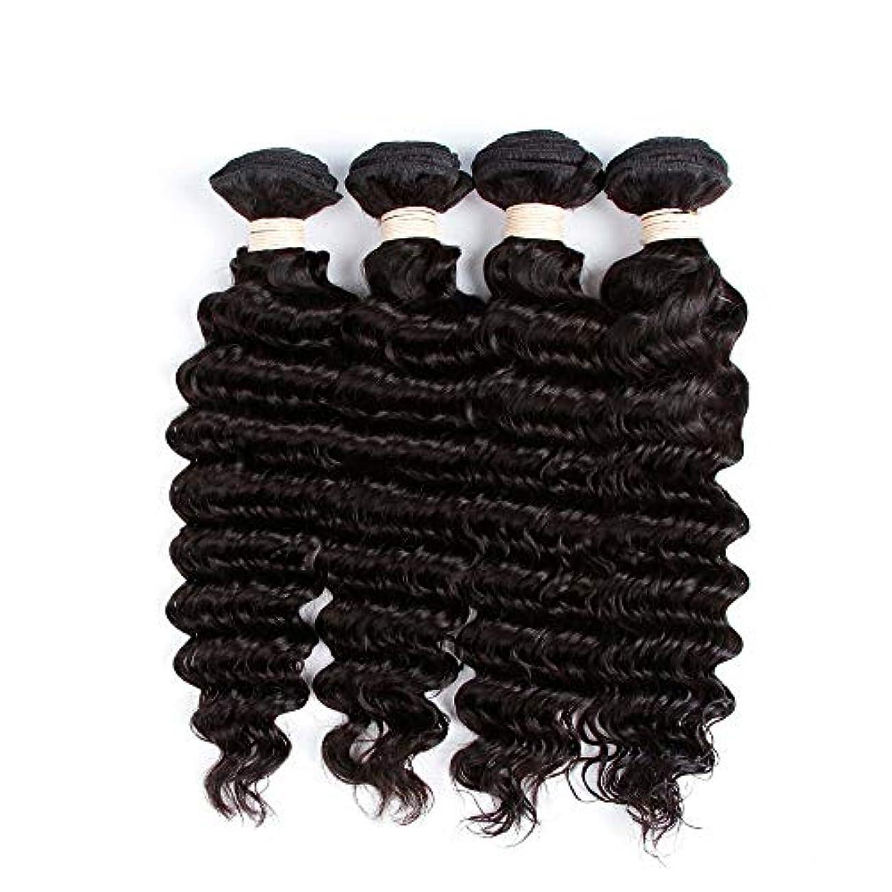 知っているに立ち寄る説得アコードHOHYLLYA 未処理のブラジルの深い巻き毛の束本物の人間のバージンヘアエクステンション - 1束#1Bナチュラルカラー(100 +/- 5g)/ pc女性複合かつらレースかつらロールプレイングかつら (色 : 黒,...
