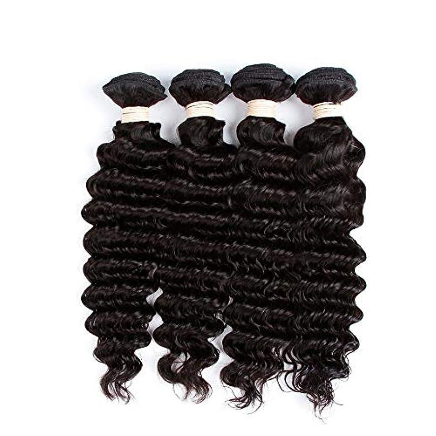 薬局スラッシュ勧告HOHYLLYA 未処理のブラジルの深い巻き毛の束本物の人間のバージンヘアエクステンション - 1束#1Bナチュラルカラー(100 +/- 5g)/ pc女性複合かつらレースかつらロールプレイングかつら (色 : 黒,...