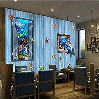 Wuyyii 壁紙3Dカスタム3Dステレオオーシャンワールドドルフィンプレイ背景壁壁画リビングルーム子供部屋レストラン壁紙-200X140Cm