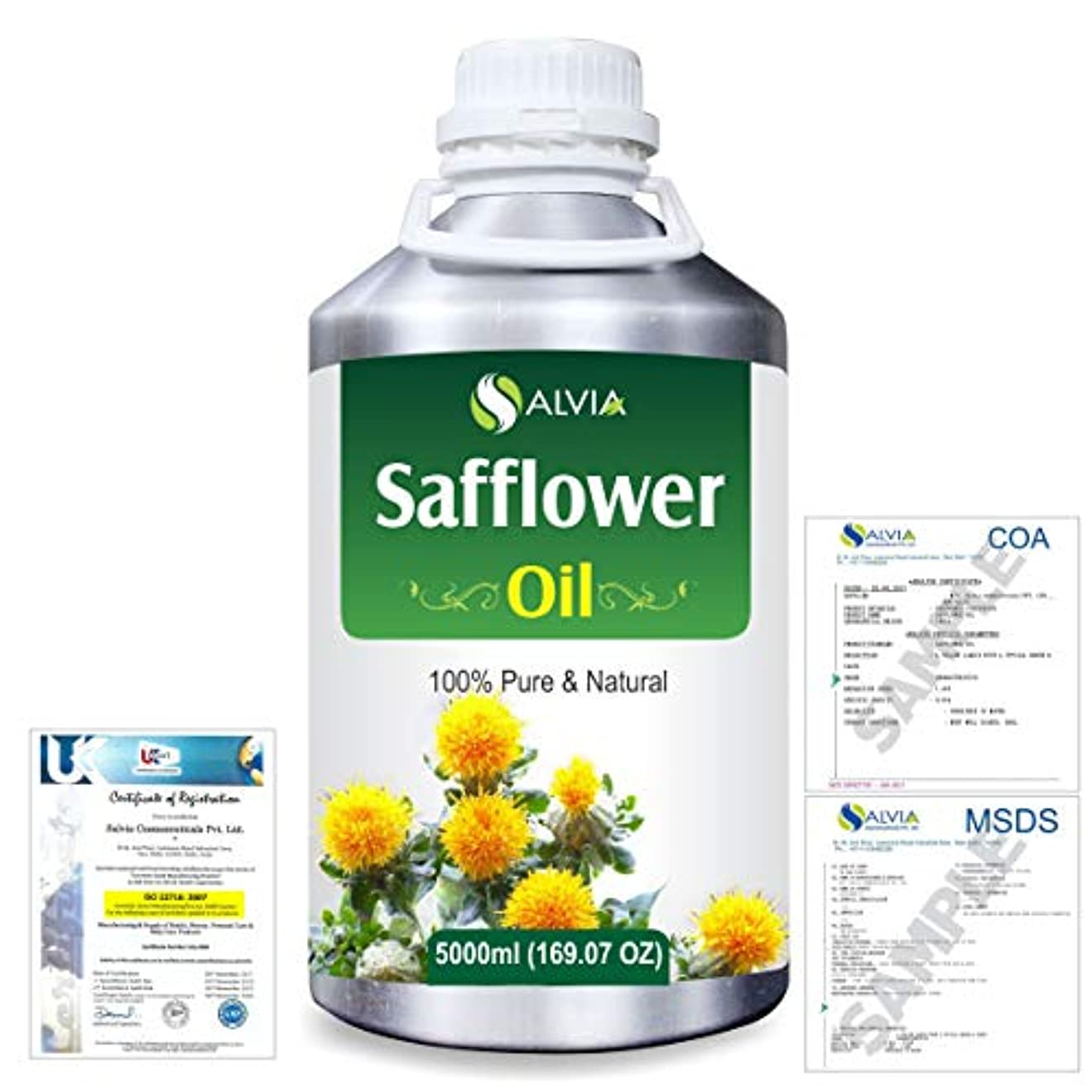 Safflower (Carthamus tinctorius) Natural Pure Undiluted Uncut Carrier Oil 5000ml/169 fl.oz.