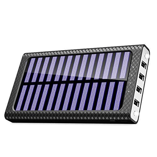 TSSIBE モバイルバッテリー ソーラーチャージャー 24000mAh 二個LEDランプ搭載 QuickCharge 電源充電可能 三つ入力ポート(MicroUSB/Lightning/Type-C入力ポート) 四つ出力ポート 電気量指示ランプ付き Android/iPhone /iPad/ゲーム機/カメラ等に対応 災害/旅行/アウトドアに大活躍 (白)