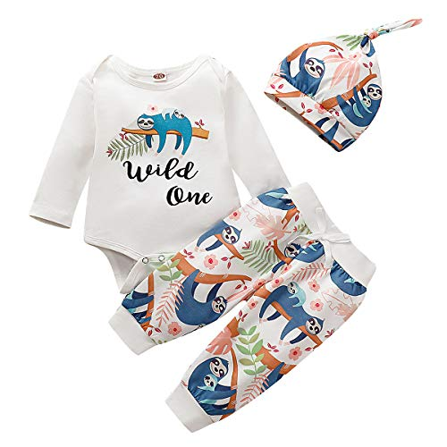 Simplee kids Newborn Baby Boys Girls Fall Long Sleeve Printed Animal Cute Clothing Set Cotton Outfit 0-3 Months
