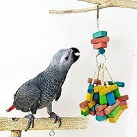 goupgolboll-オウムのおもちゃカラフルな木の棒ブロック鳥インコチューチューケージぶら下げ装飾 - ランダムな色