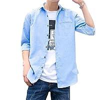 シャツ メンズ 夏服 七分袖 レッドステッチ オックスフォードシャツ 吸汗速乾 快適な 軽い 柔らかい かっこいい ワイシャツ カジュアル スポーツ オシャレ 無地 (ライトブルー, XL)
