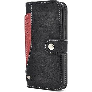 PLATA iPhone7 / iPhone8 ケース 手帳型 スライド カード ポケット ソフト レザー ケース カバー iPhone 7 / 8 【 ブラック 黒 くろ black 】 IP7-6217BK
