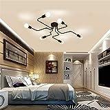 Industrial Vintage Iron Metal Flush Mount Black Art Deco Ceiling Light Retro Fixture Chandeliers Pendant Lamp for Kitchen, Loft, Dining Room, Bedroom (6 Heads)