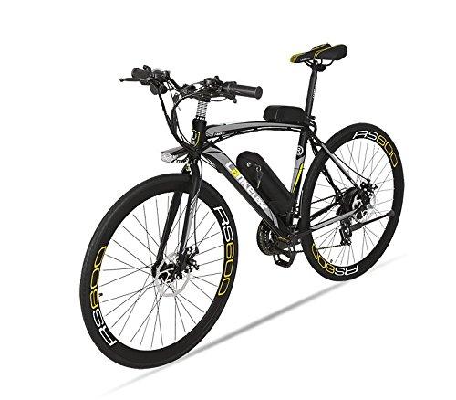 Extrbici RS600 21段変速 ロード電動アシスト自転車 男子向き 高強度炭素鋼フレーム LED前車燈付き 通勤  (グレーブラック)