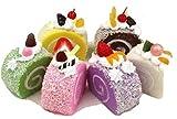 食品 サンプル 模型 レストラン 食堂 の ディスプレイ 展示などに 本物 そっくり 精巧 リアル 職人 芸 スイーツ デザート フルーツ 果物 ロールケーキ 6種