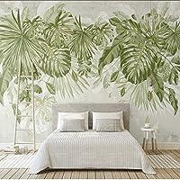 Lixiaoer カスタムジャングル水彩新鮮な緑の葉不織布壁画寝室のリビングルームソファテレビの背景壁画3D壁紙-250X175Cm