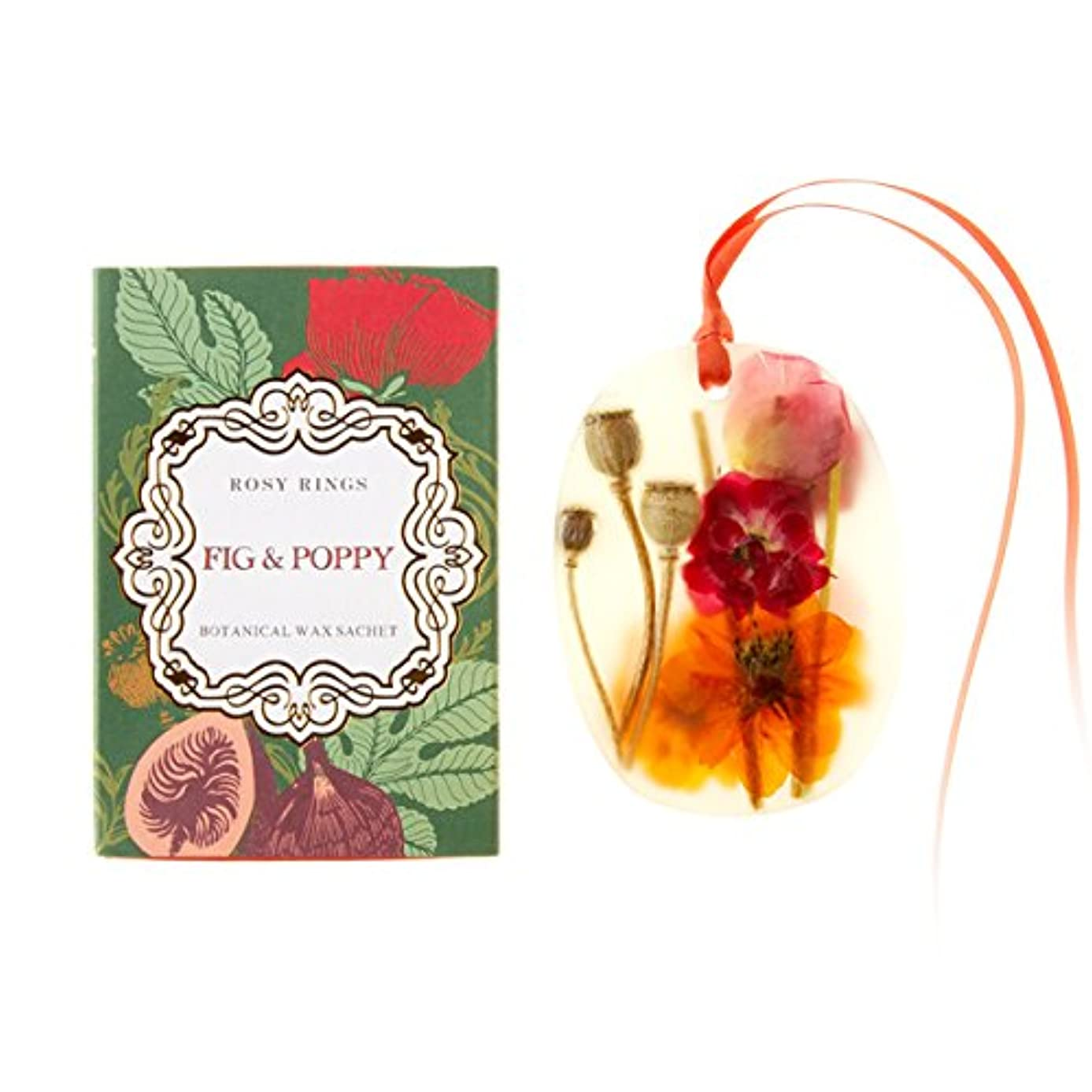 マウスピース違うウッズロージーリングス プティボタニカルサシェ フィグ&ポピー ROSY RINGS Petite Oval Botanical Wax Sachet Fig & Poppy