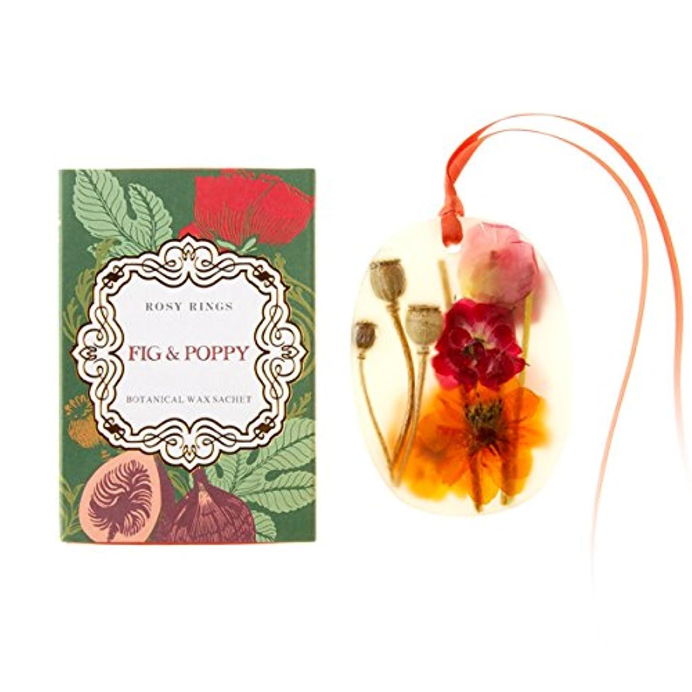 冗談で可塑性メキシコロージーリングス プティボタニカルサシェ フィグ&ポピー ROSY RINGS Petite Oval Botanical Wax Sachet Fig & Poppy