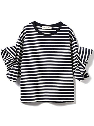 (レイビームス) Ray BEAMS/カットソー ボーダー ラッフルスリーブ Tシャツ レディス ネイビー