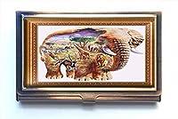 jkfgweeryhrt Elephant World カスタムポータブルビジネスバンク 名刺ケースホルダーボックス ポケット クレジットカード IDウォレット