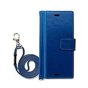 Hy+ Xperia XZ、Xperia XZs SO-03J SOV35 SO-01J SOV34 本革レザー ケース 手帳型 ブルー (ネックストラップ、カードポケット、スタンド機能付き)
