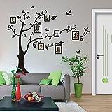 ZooArts 黒い木 写真ツリー 家系 鳥 取り外し可能な ウォールステッカー 壁デカール 壁紙 壁の装飾