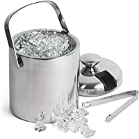 GSCW Ice Bucket with Tongs- Best Double Wall Insulated Stainless Steel Bar Accessory