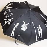 Moulin Rouge Paris(ムーランルージュ) プリント傘折りたたみ ナイトショッピング 三段ミニオート 黒地/白柄