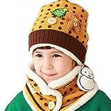 子供帽子+スヌード 2点セット 可愛い帽子 ニット帽子 耳当て 首元 暖か 防寒 冬用 ぼうし マフラー ポンポン付き 雪だるま ツリー クマ アニマル 男の子 女の子 人気アクセサリー ファッション小物 クリスマス プレゼント ギフト イエロー