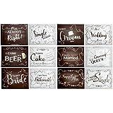 ウェディングフォトブース パーティーサイン - 両面 写真ブース 小道具カード 面白いパーティー用品 ヴィンテージデザイン 11.2 x 8.7インチ 18枚パック