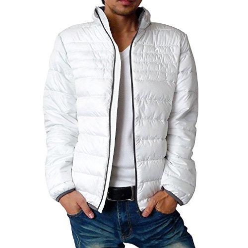 (ハイクオリティプロダクト) High quality product メンズ ファイバーダウンカラージャケット / メンズ中綿 アウター ジャケット ライト ファイバーダウン 薄綿 ジャケット 通勤 通学 アウター ホワイト M サイズ