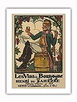 ブルゴーニュワイン、フランス - ワインメーカーHenri deBah?zre - ビンテージな広告ポスター によって作成された ガイ・アルヌー c.1916 - プレミアム290gsmジークレーアートプリント - 30.5cm x 41cm
