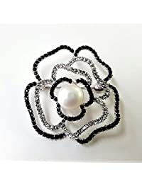本真珠 天然色 淡水パール約10~約11mm バラブローチ WH(ホワイト)