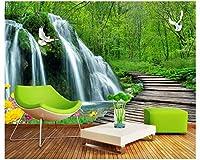 Mbwlkj カスタムファッションステレオ壁紙滝木の橋3Dテレビの寝室の装飾画の背景3Dの壁紙-150cmx100cm