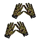 ノーブランド品 2組 お買い得 ミリタリー アウトドア 狩猟 キャンプ サイクリング フルフィンガー グローブ 手袋