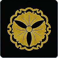 家紋 捺印マット 雪輪に三つ銀杏紋 11cm x 11cm KN11-2084