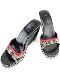 グッチ GUCCI サンダル シューズ 靴 レディース ♯5C ウェッジソール GGキャンバス 中古 T6953