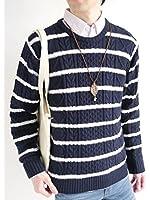 (モノマート) MONO-MART フィッシャーマン ニット セーター クルーネック 起毛 ゆる ケーブル編み シルエット 春 カラー 長袖 メンズ
