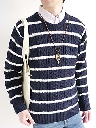 (モノマート) MONO-MART フィッシャーマン ニット セーター クルーネック 起毛 ゆる ケーブル編み シルエット 春 カラー 長袖 メンズ ネイビー×ホワイト Lサイズ