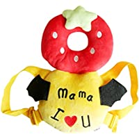 【shuave】 赤ちゃん ごっつん防止 ケガ防止 頭の保護 乳幼児用 可愛い 衝撃防止 リュック 帽子 (M, いちご 赤)