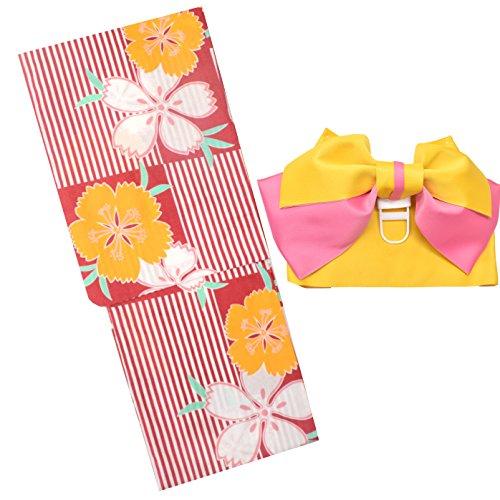 浴衣 レディース セット 福袋 2点セット 女性 浴衣+作り帯 柄が選べる6柄 大人浴衣 (10赤地に縦縞市松)