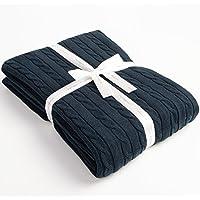 NTBAY ニット毛布 コットンブランケット 綿100% ふわふわ 柔らか 織物 折り畳み ひざ掛け 多色 (紺色)