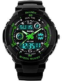 BesWLZキッズ腕時計スポーツ腕時計多機能デジタル防水電子クォーツ時計男の子のギフト (green)