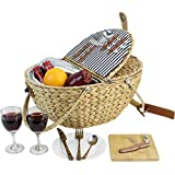 HappyPicnic Seagrass Picnic Basket for 2 Persons, Picnic Hamper Set with Insulated Cooler Compartment, Portable Basket with Foldable Handles(Navy Stripe)