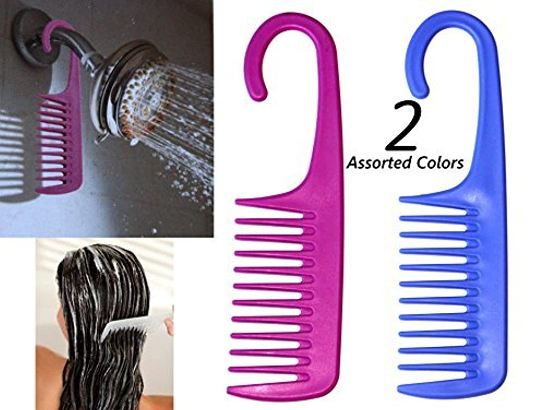 2 Assorted Color Wide Tooth De-tangling/Conditioning Shower Comb w/Hook for hanging By ALAZCO [並行輸入品]